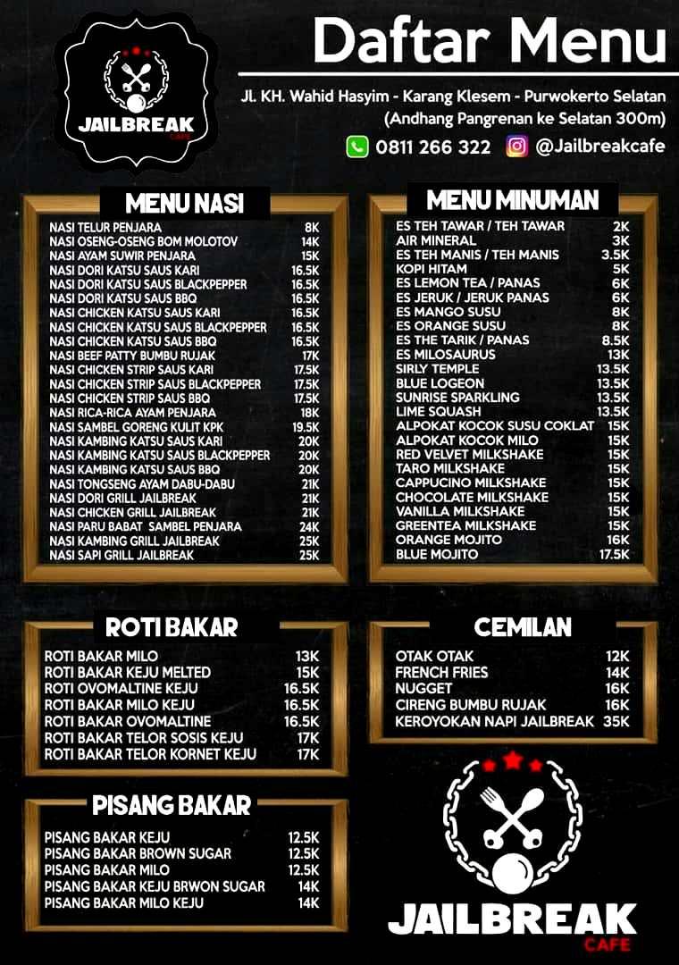 Daftar Harga Menu JailBreak Cafe Purwokerto