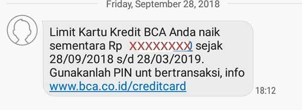 Naik Limit Sementara Kartu Kredit